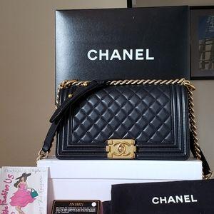 Chanel black lambskin bag gold hw old medium bag